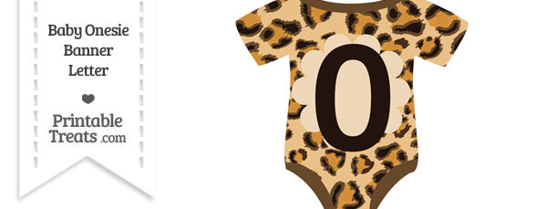 Leopard Print Baby Onesie Shaped Banner Number 0