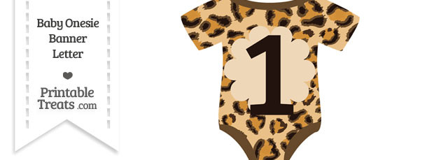 Leopard Print Baby Onesie Shaped Banner Number 1