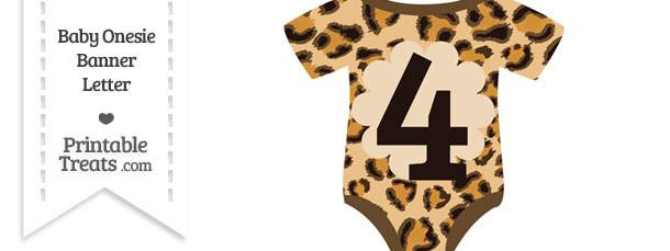 Leopard Print Baby Onesie Shaped Banner Number 4