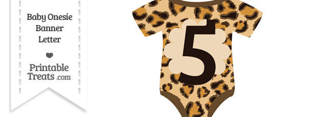Leopard Print Baby Onesie Shaped Banner Number 5