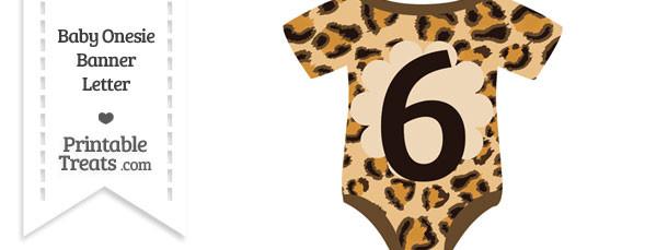 Leopard Print Baby Onesie Shaped Banner Number 6