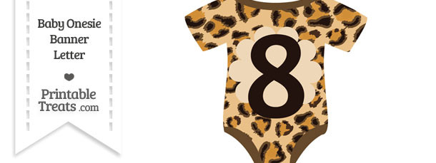 Leopard Print Baby Onesie Shaped Banner Number 8