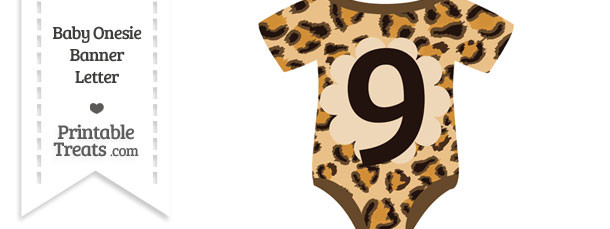 Leopard Print Baby Onesie Shaped Banner Number 9
