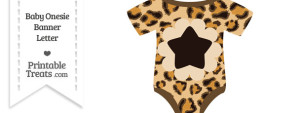 Leopard Print Baby Onesie Shaped Banner Star End Flag