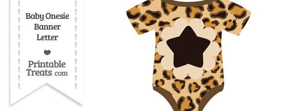 Leopard Print Baby Onesie Shaped Banner Star End Flag