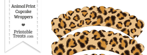 Leopard Print Scalloped Cupcake Wrappers