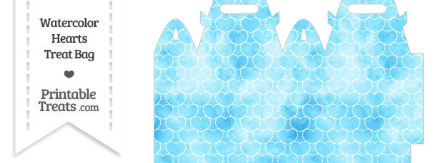 Light Blue Watercolor Hearts Treat Bag
