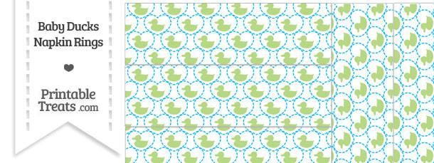 Light Green Baby Ducks Napkin Rings