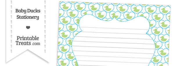 Light Green Baby Ducks Stationery Paper