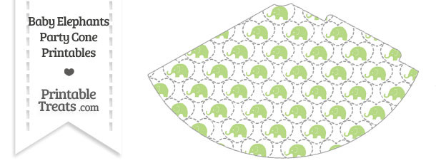 Light Green Baby Elephants Party Cone