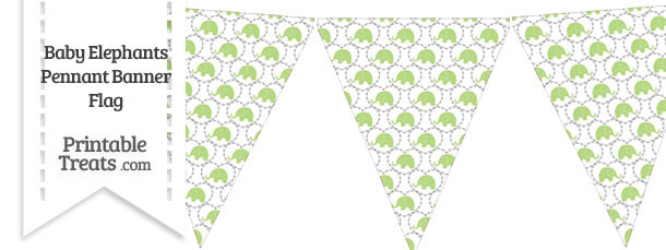 Light Green Baby Elephants Pennant Banner Flag