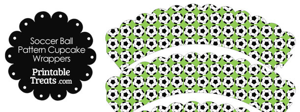 Light Green Soccer Ball Pattern Scalloped Cupcake Wrappers