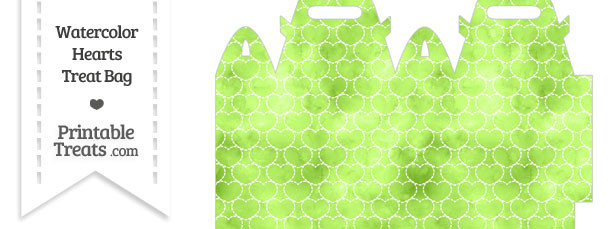 Light Green Watercolor Hearts Treat Bag