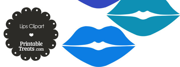 Lips Clipart in Shades of Blue from PrintableTreats.com