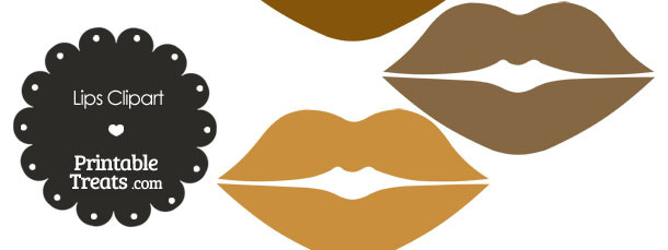 Lips Clipart in Shades of Brown from PrintableTreats.com