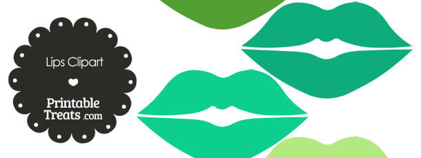 Lips Clipart in Shades of Green from PrintableTreats.com