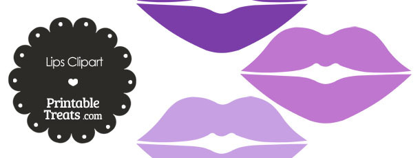 Lips Clipart in Shades of Purple from PrintableTreats.com