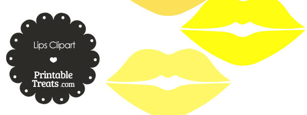 Lips Clipart in Shades of Yellow from PrintableTreats.com