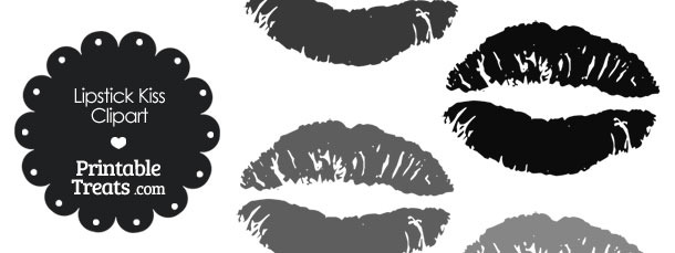 Lipstick Kiss Clipart in Shades of Grey