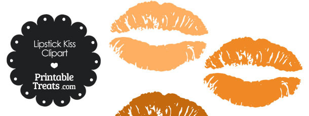 Lipstick Kiss Clipart in Shades of Orange