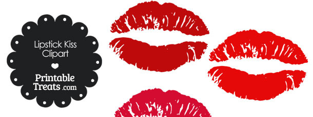 Lipstick Kiss Clipart in Shades of Red