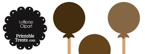 Lollipop Clipart in Shades of Brown