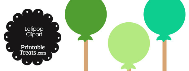 Lollipop Clipart in Shades of Green