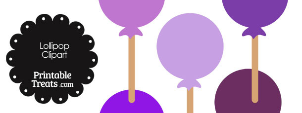 Lollipop Clipart in Shades of Purple