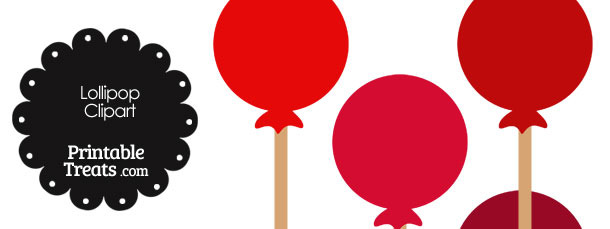 Red Lollipop Clipart in Shades of Red