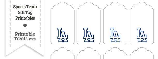 Los Angeles Dodgers Gift Tags Printable Treats Com