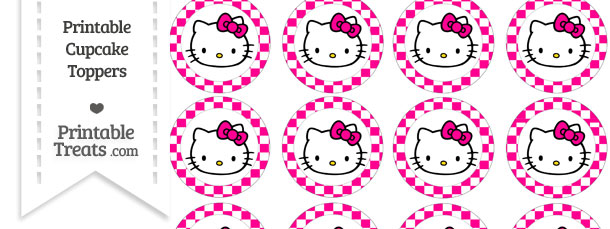 hello kitty cupcake topper template - free magenta checker pattern hello kitty cupcake toppers