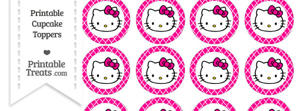 hello kitty cupcake topper template - free magenta moroccan tile hello kitty cupcake toppers