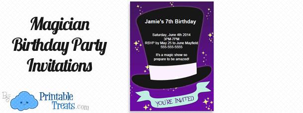 Magician Birthday Party Invitations Printable Treats Com