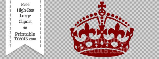 Maroon Keep Calm Crown Clipart Printable Treats