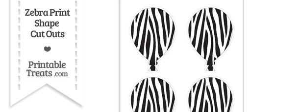 Medium Sized Zebra Print Balloon Cut Outs