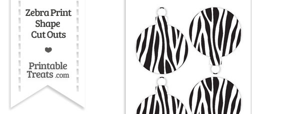 Medium Sized Zebra Print Christmas Ornament Cut Outs