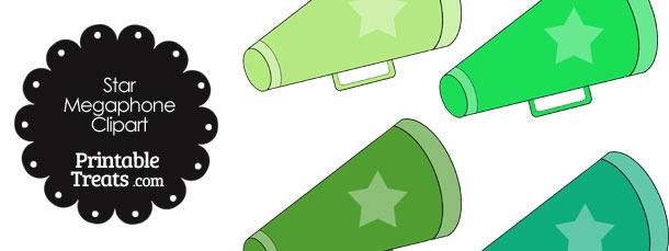 Megaphone Clipart in Shades of Green