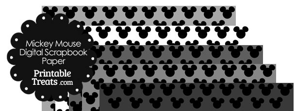 mickey mouse digital scrapbook paper with grey background