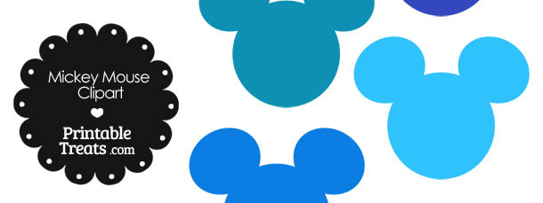 mickey mouse head clipart in shades of blue