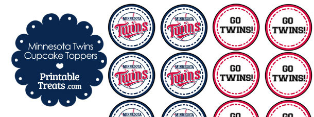 graphic about Minnesota Twins Printable Schedule titled Minnesota Twins Cupcake Toppers Printable