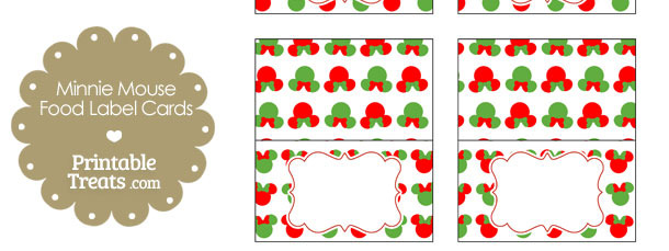 Minnie Mouse Christmas Food Labels