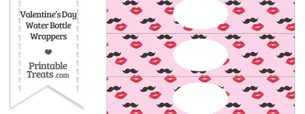 Mustache Kiss Water Bottle Wrappers