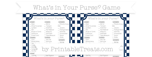 Navy Blue Checker Pattern Whats In Your Purse Baby Shower Game