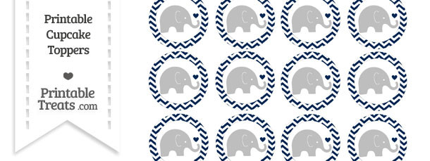Navy Blue Chevron Baby Elephant Cupcake Toppers