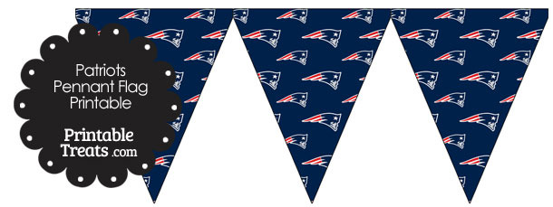 New England Patriots Logo with Blue Background Pennant Flags