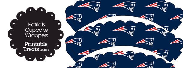 New England Patriots Logo with Blue Background Scalloped Cupcake Wrappers