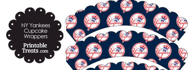 New York Yankees Baseball Scalloped Cupcake Wrappers