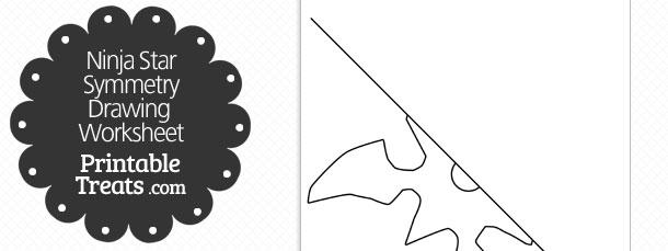 Ninja Star Symmetry Drawing Worksheet — Printable Treats.com
