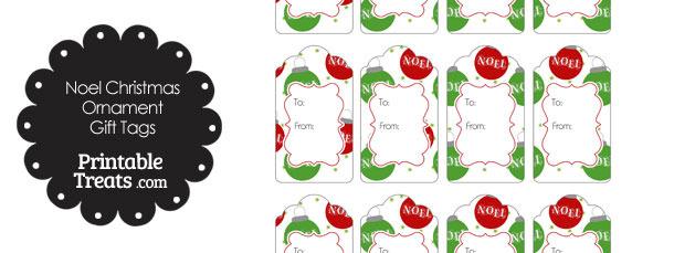 Noel Christmas Ornament Gift Tags
