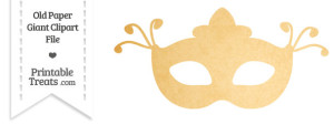 Old Paper Giant Fancy Masquerade Mask Clipart